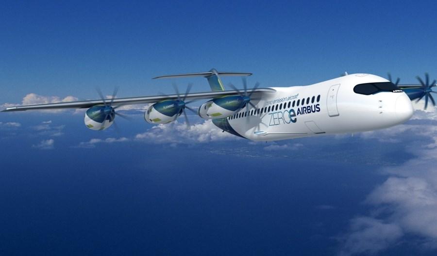 Airbus zaprezentował samolot na wodór z sześcioma silnikami turbośmigłowymi