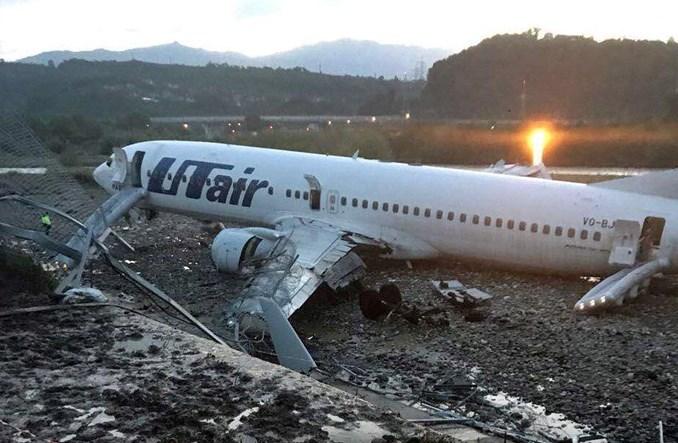 Boeing B737 linii UTAir wypadł z pasa w Soczi