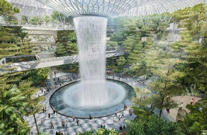 Singapurskie Changi z wodospadem