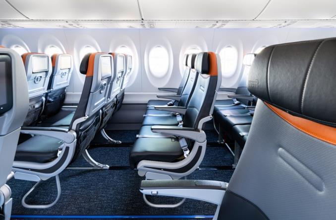 Wnętrza pierwszego airbusa A220 JetBlue Airways (Zdjęcia)